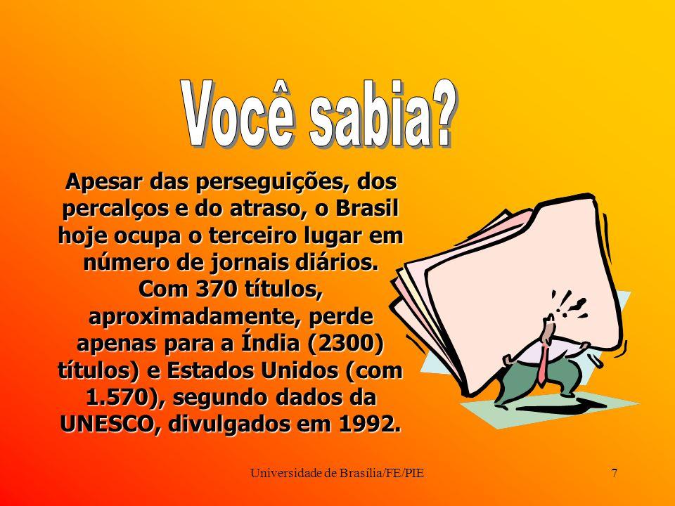 Universidade de Brasília/FE/PIE7 Apesar das perseguições, dos percalços e do atraso, o Brasil hoje ocupa o terceiro lugar em número de jornais diários.