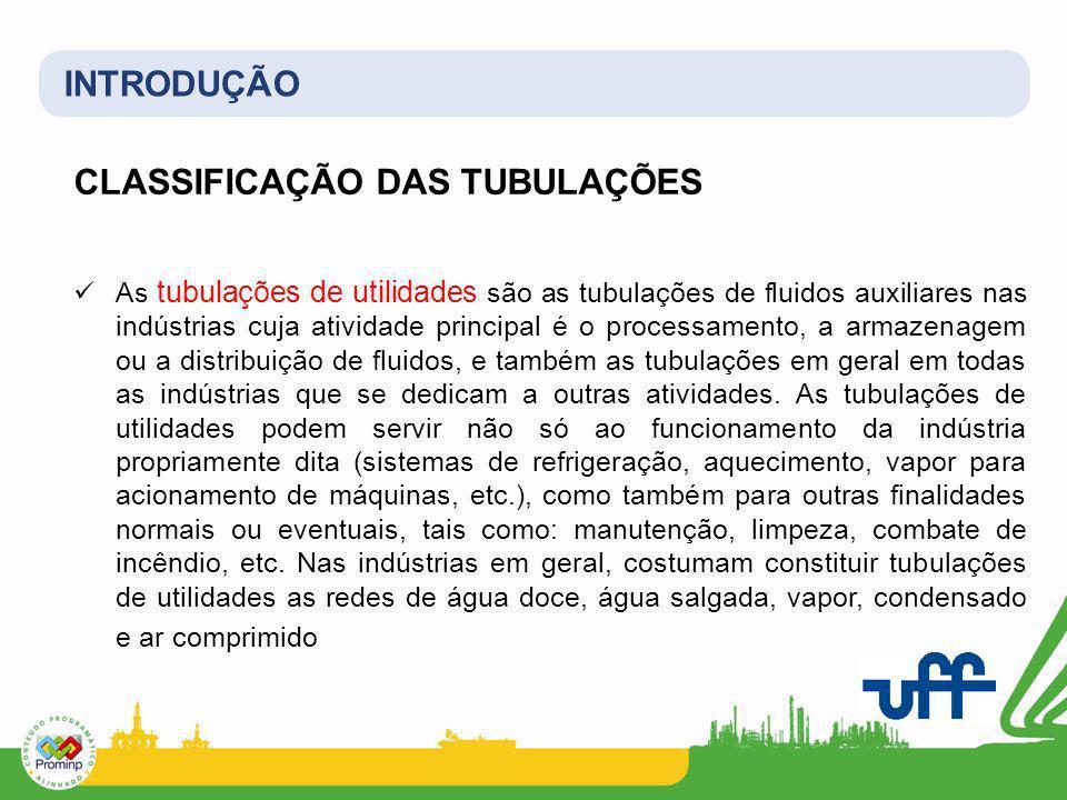 INTRODUÇÃO CLASSIFICAÇÃO DAS TUBULAÇÕES As tubulações de utilidades são as tubulações de fluidos auxiliares nas indústrias cuja atividade principal é