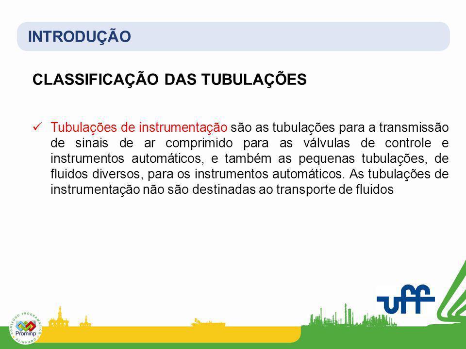 INTRODUÇÃO CLASSIFICAÇÃO DAS TUBULAÇÕES Tubulações de instrumentação são as tubulações para a transmissão de sinais de ar comprimido para as válvulas