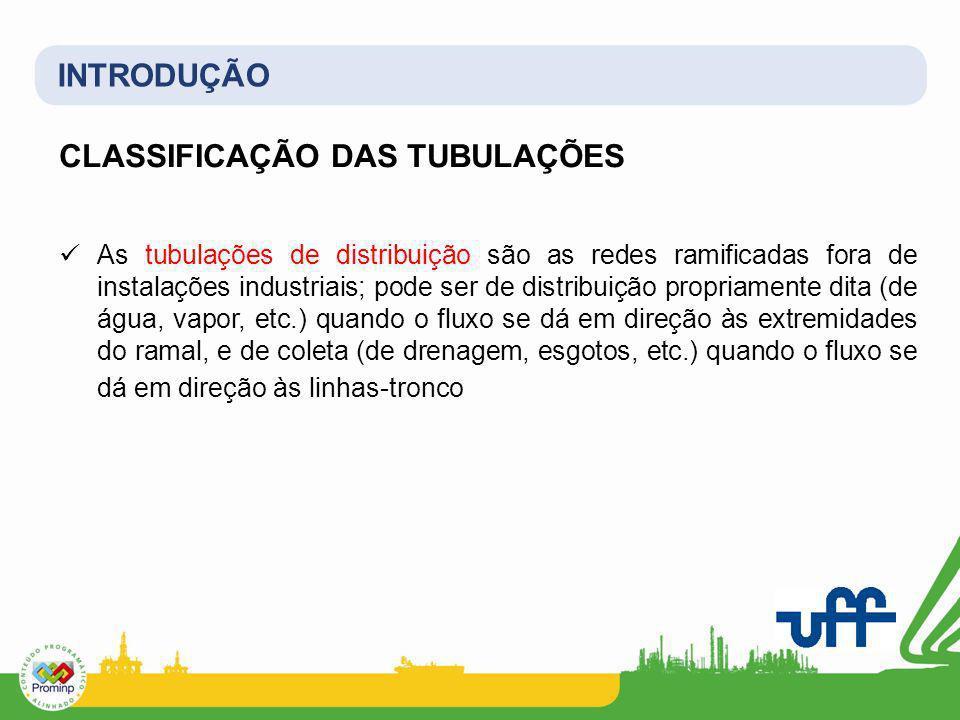 INTRODUÇÃO CLASSIFICAÇÃO DAS TUBULAÇÕES As tubulações de distribuição são as redes ramificadas fora de instalações industriais; pode ser de distribuiç