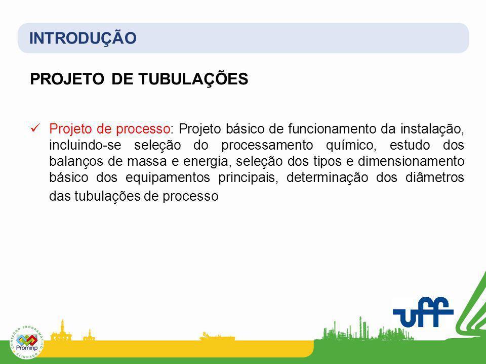 INTRODUÇÃO PROJETO DE TUBULAÇÕES Projeto de processo: Projeto básico de funcionamento da instalação, incluindo-se seleção do processamento químico, es