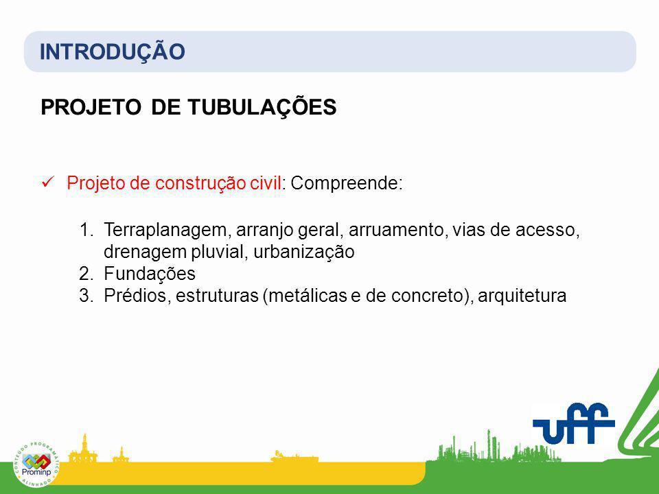 INTRODUÇÃO PROJETO DE TUBULAÇÕES Projeto de construção civil: Compreende: 1.Terraplanagem, arranjo geral, arruamento, vias de acesso, drenagem pluvial