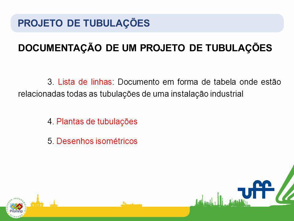 PROJETO DE TUBULAÇÕES DOCUMENTAÇÃO DE UM PROJETO DE TUBULAÇÕES 3. Lista de linhas: Documento em forma de tabela onde estão relacionadas todas as tubul