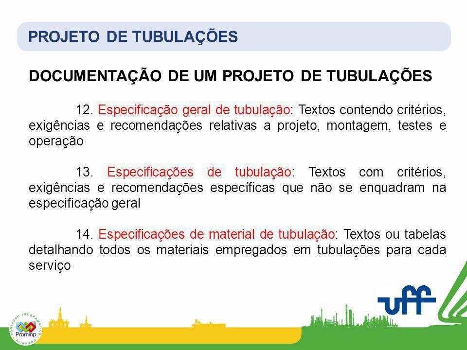 PROJETO DE TUBULAÇÕES DOCUMENTAÇÃO DE UM PROJETO DE TUBULAÇÕES 12. Especificação geral de tubulação: Textos contendo critérios, exigências e recomenda