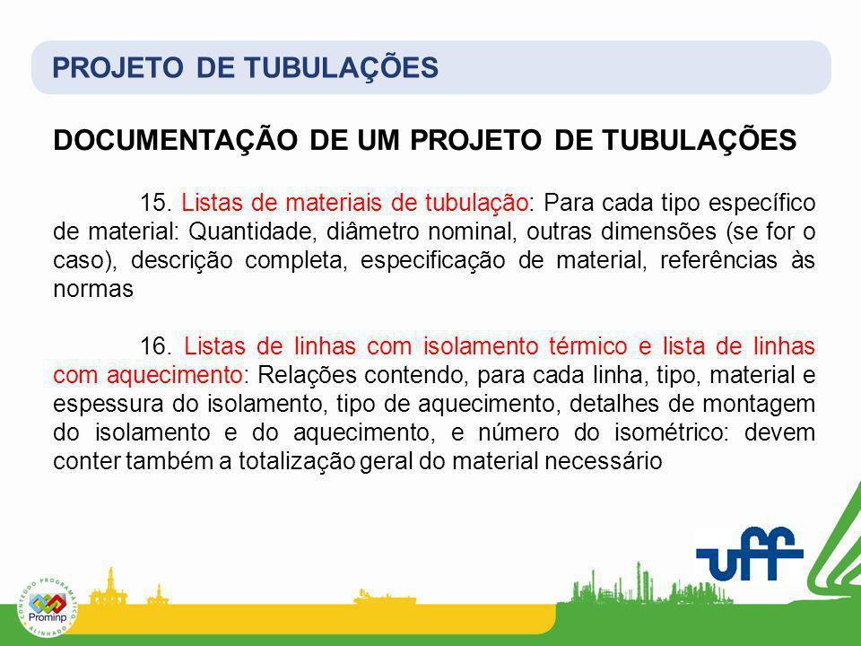 PROJETO DE TUBULAÇÕES DOCUMENTAÇÃO DE UM PROJETO DE TUBULAÇÕES 15. Listas de materiais de tubulação: Para cada tipo específico de material: Quantidade
