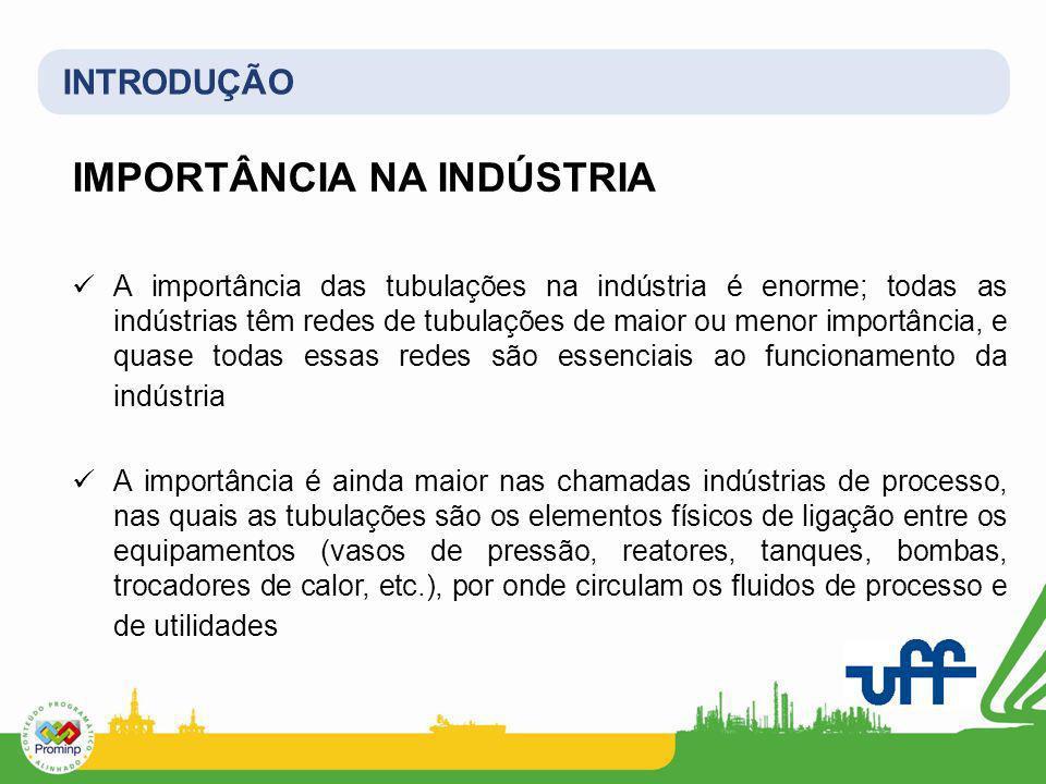 INTRODUÇÃO IMPORTÂNCIA NA INDÚSTRIA A importância das tubulações na indústria é enorme; todas as indústrias têm redes de tubulações de maior ou menor