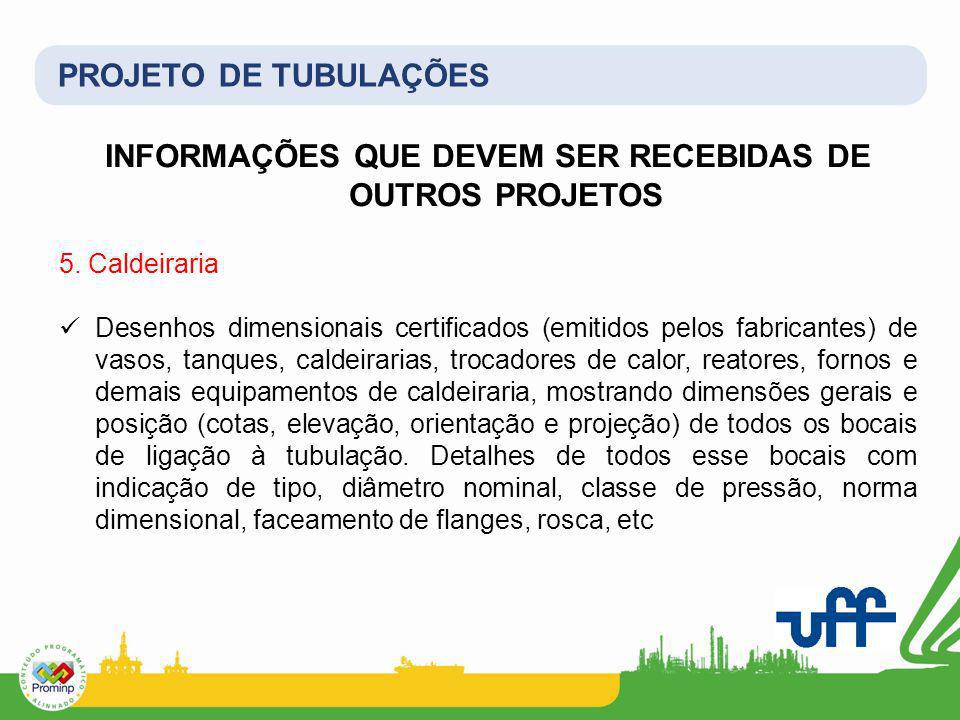 PROJETO DE TUBULAÇÕES INFORMAÇÕES QUE DEVEM SER RECEBIDAS DE OUTROS PROJETOS 5. Caldeiraria Desenhos dimensionais certificados (emitidos pelos fabrica