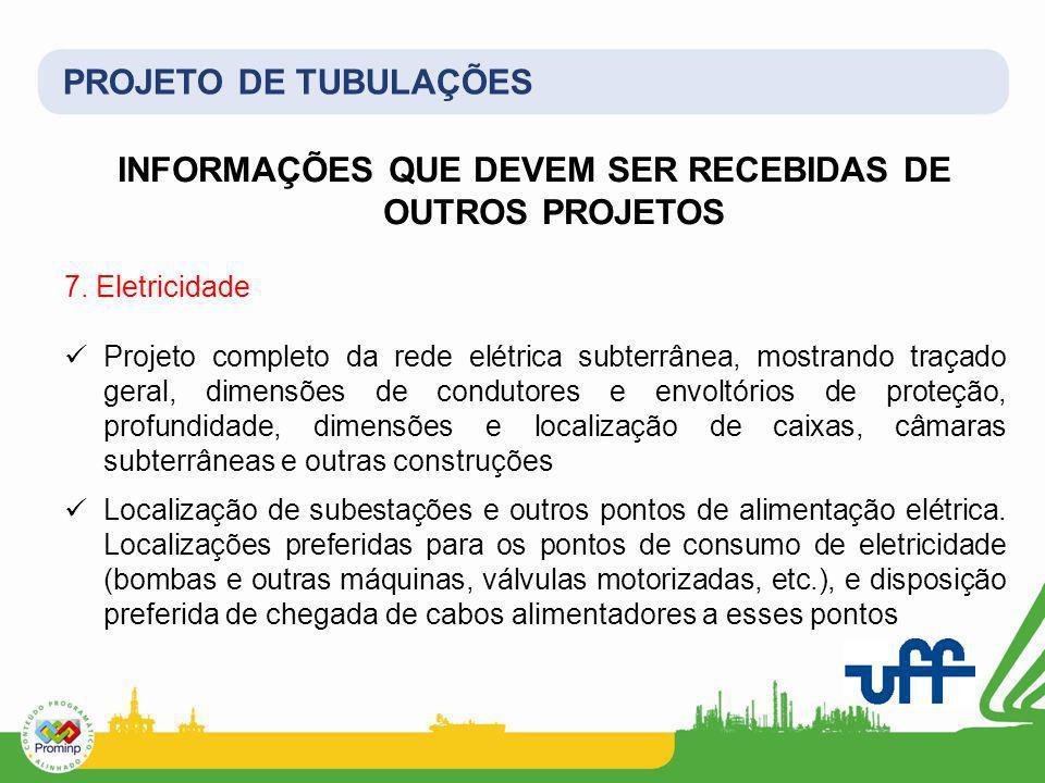 PROJETO DE TUBULAÇÕES INFORMAÇÕES QUE DEVEM SER RECEBIDAS DE OUTROS PROJETOS 7. Eletricidade Projeto completo da rede elétrica subterrânea, mostrando