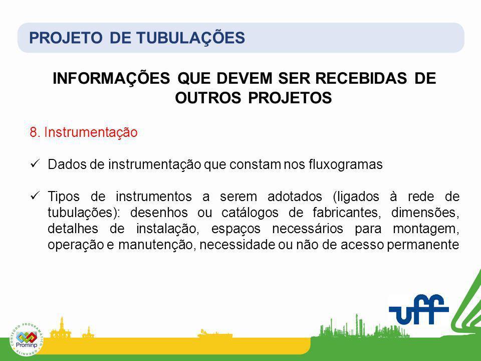 PROJETO DE TUBULAÇÕES INFORMAÇÕES QUE DEVEM SER RECEBIDAS DE OUTROS PROJETOS 8. Instrumentação Dados de instrumentação que constam nos fluxogramas Tip