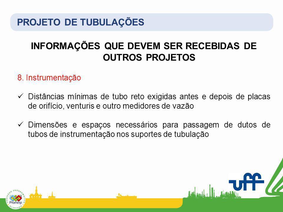 PROJETO DE TUBULAÇÕES INFORMAÇÕES QUE DEVEM SER RECEBIDAS DE OUTROS PROJETOS 8. Instrumentação Distâncias mínimas de tubo reto exigidas antes e depois