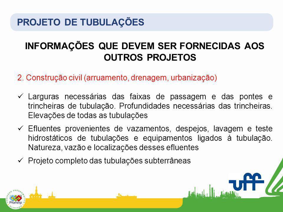 PROJETO DE TUBULAÇÕES INFORMAÇÕES QUE DEVEM SER FORNECIDAS AOS OUTROS PROJETOS 2. Construção civil (arruamento, drenagem, urbanização) Larguras necess