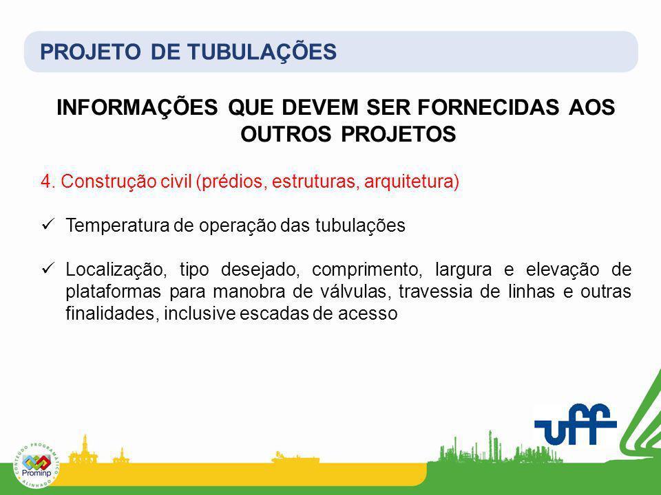 PROJETO DE TUBULAÇÕES INFORMAÇÕES QUE DEVEM SER FORNECIDAS AOS OUTROS PROJETOS 4. Construção civil (prédios, estruturas, arquitetura) Temperatura de o
