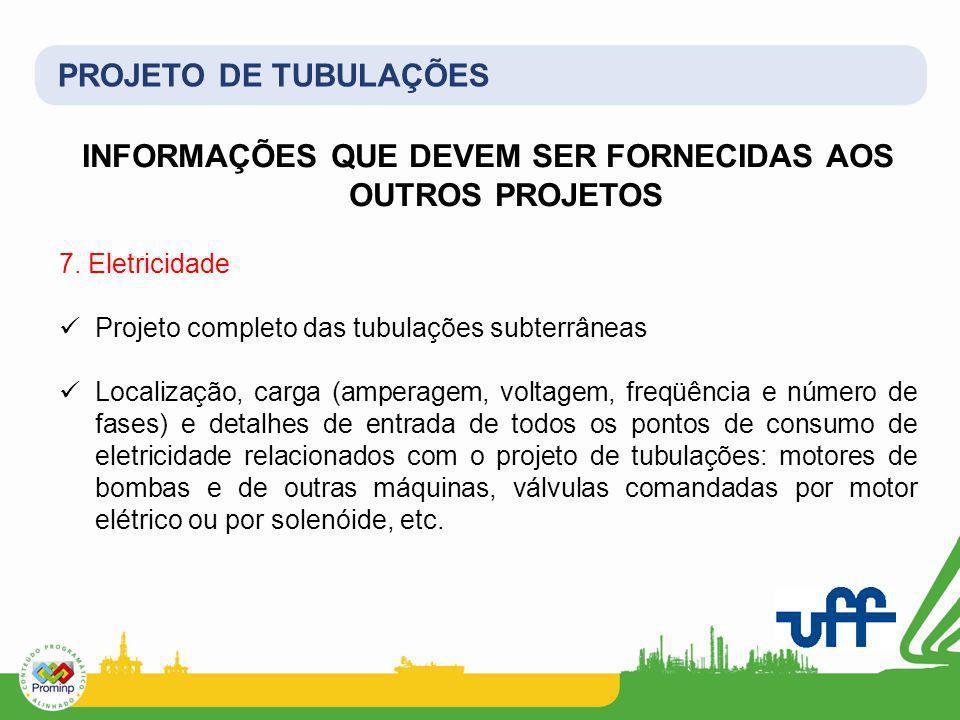 PROJETO DE TUBULAÇÕES INFORMAÇÕES QUE DEVEM SER FORNECIDAS AOS OUTROS PROJETOS 7. Eletricidade Projeto completo das tubulações subterrâneas Localizaçã
