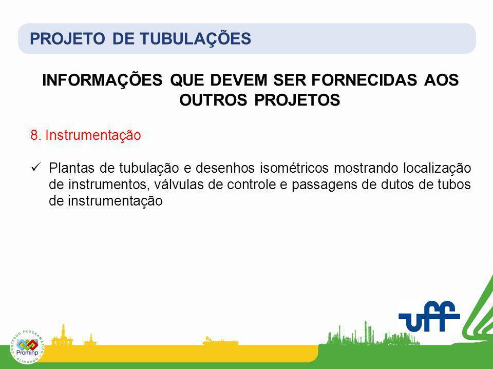 PROJETO DE TUBULAÇÕES INFORMAÇÕES QUE DEVEM SER FORNECIDAS AOS OUTROS PROJETOS 8. Instrumentação Plantas de tubulação e desenhos isométricos mostrando