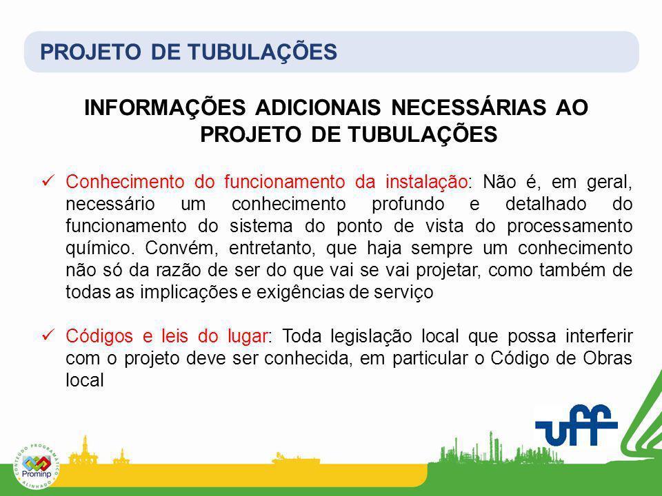 PROJETO DE TUBULAÇÕES INFORMAÇÕES ADICIONAIS NECESSÁRIAS AO PROJETO DE TUBULAÇÕES Conhecimento do funcionamento da instalação: Não é, em geral, necess