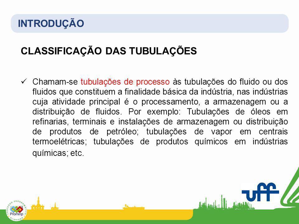 INTRODUÇÃO CLASSIFICAÇÃO DAS TUBULAÇÕES Chamam-se tubulações de processo às tubulações do fluido ou dos fluidos que constituem a finalidade básica da