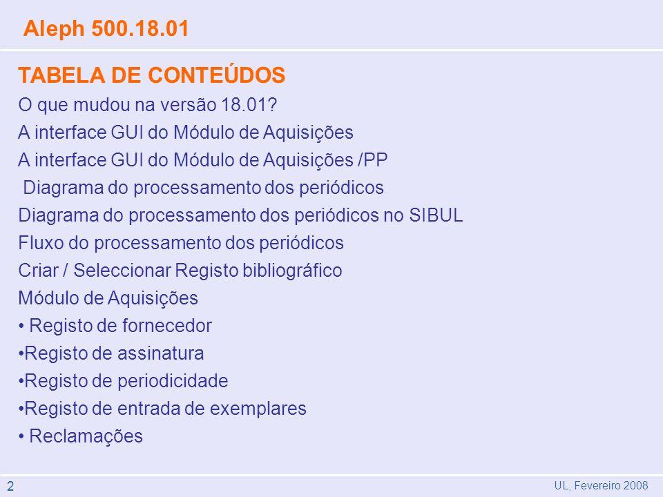 UL, Fevereiro 2008 Aleph 500.18.01 TABELA DE CONTEÚDOS O que mudou na versão 18.01? A interface GUI do Módulo de Aquisições A interface GUI do Módulo