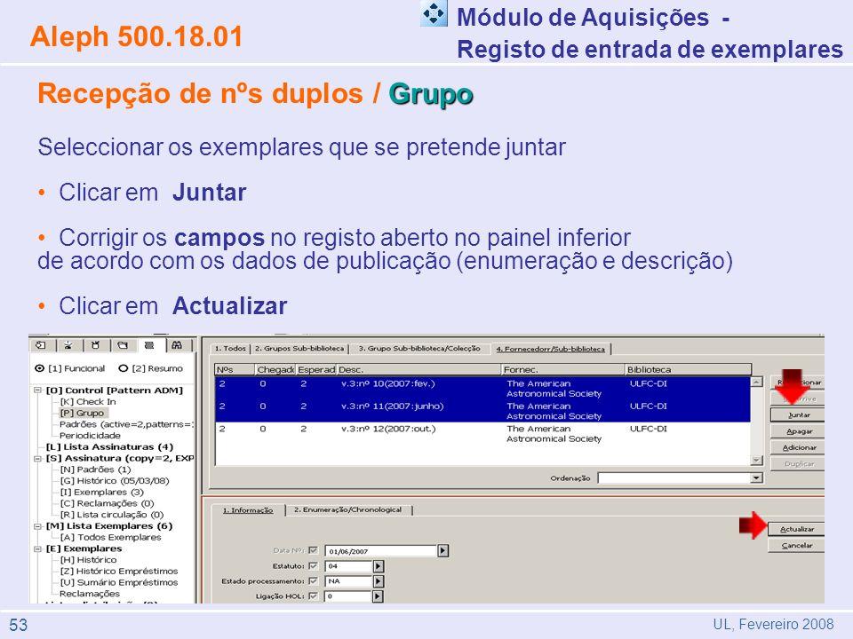 Grupo Recepção de nºs duplos / Grupo Seleccionar os exemplares que se pretende juntar Clicar em Juntar Corrigir os campos no registo aberto no painel