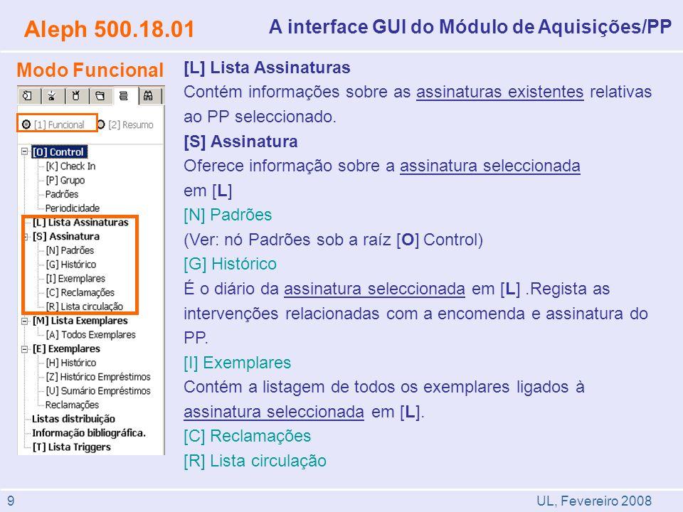 UL, Fevereiro 2008 Aleph 500.18.01 A interface GUI do Módulo de Aquisições/PP Modo Funcional [L] Lista Assinaturas Contém informações sobre as assinaturas existentes relativas ao PP seleccionado.