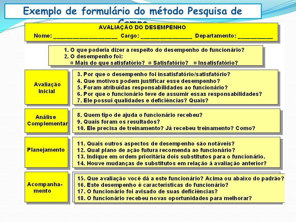 Exemplo de formulário do método Pesquisa de Campo