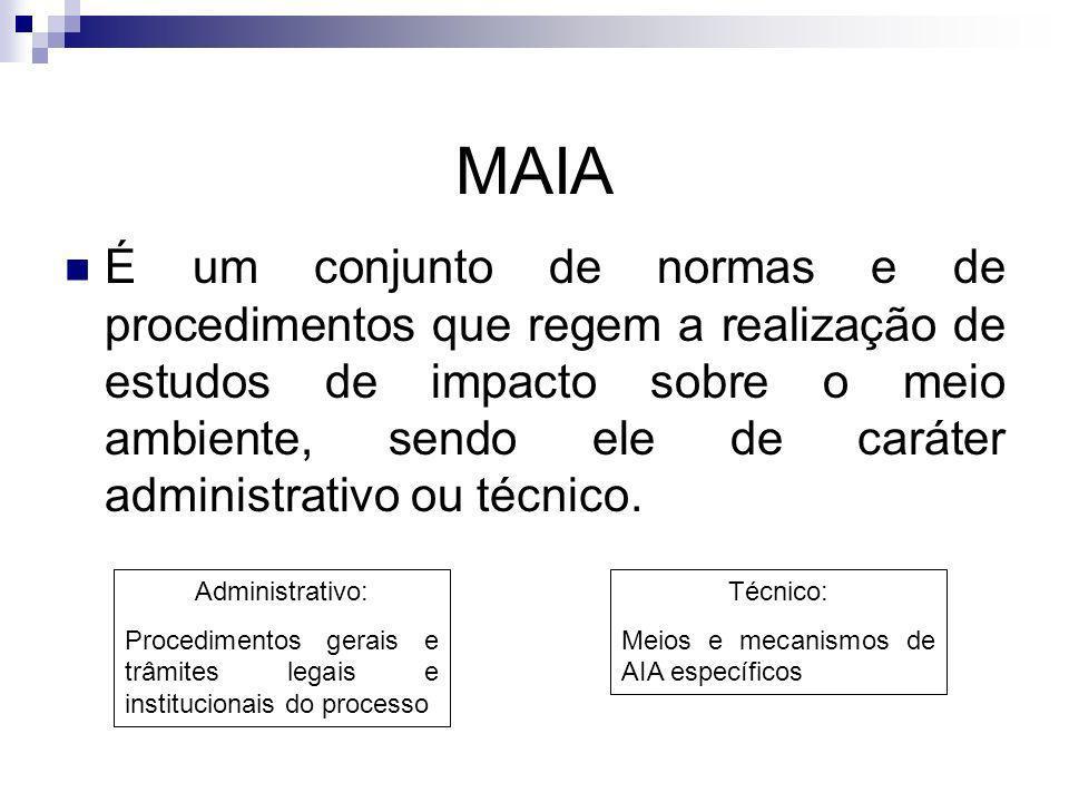 MAIA É um conjunto de normas e de procedimentos que regem a realização de estudos de impacto sobre o meio ambiente, sendo ele de caráter administrativ