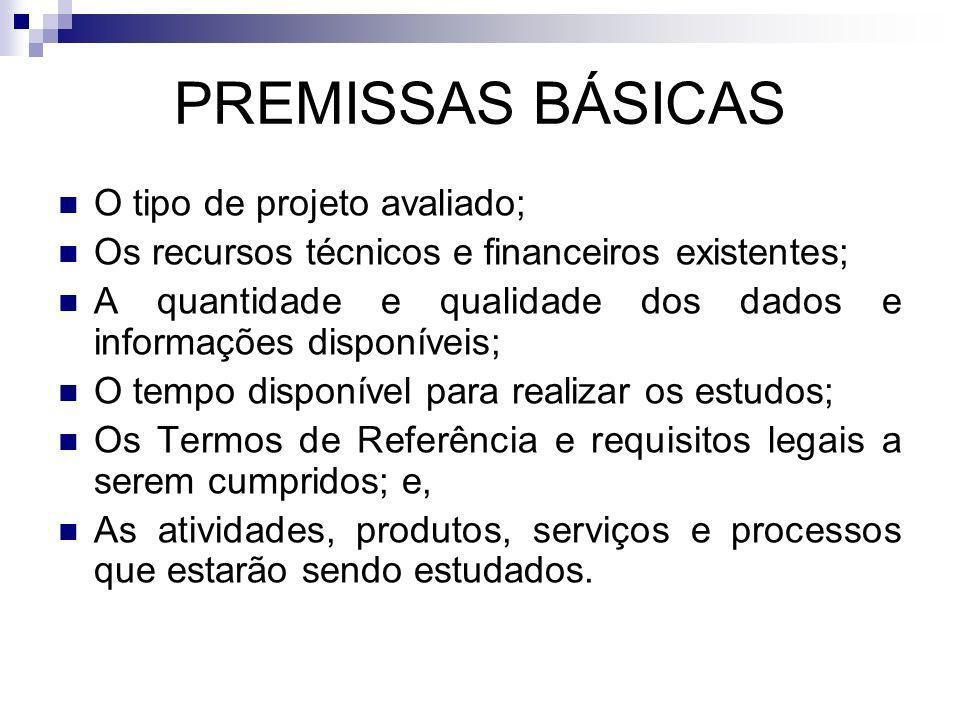 PREMISSAS BÁSICAS O tipo de projeto avaliado; Os recursos técnicos e financeiros existentes; A quantidade e qualidade dos dados e informações disponív