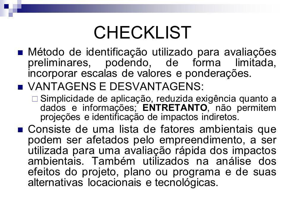 CHECKLIST Método de identificação utilizado para avaliações preliminares, podendo, de forma limitada, incorporar escalas de valores e ponderações. VAN