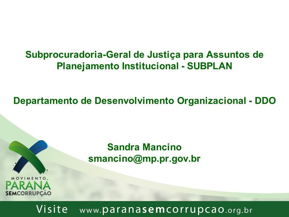 Subprocuradoria-Geral de Justiça para Assuntos de Planejamento Institucional - SUBPLAN Departamento de Desenvolvimento Organizacional - DDO Sandra Man