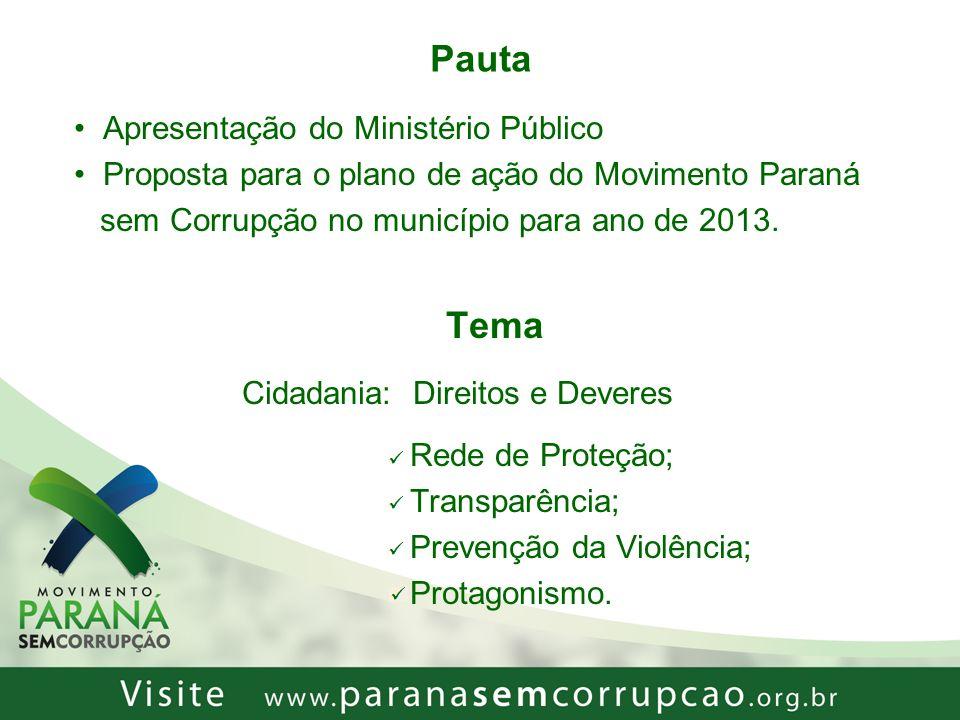 Pauta Apresentação do Ministério Público Proposta para o plano de ação do Movimento Paraná sem Corrupção no município para ano de 2013. Tema Cidadania