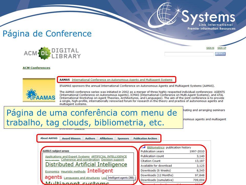 Página de Conference Página de uma conferência com menu de trabalho, tag clouds, bibliometria, etc.