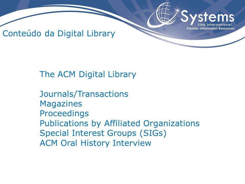 The Guide to Computing Literature Coleção de citações e resumos bibliográficos de trabalhos publicados pela ACM e por outros Editores.
