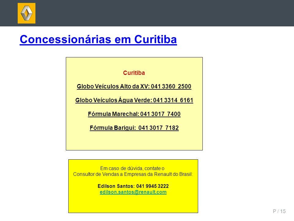 P / 15 Concessionárias em Curitiba Curitiba Globo Veículos Alto da XV: 041 3360 2500 Globo Veículos Água Verde: 041 3314 6161 Fórmula Marechal: 041 30