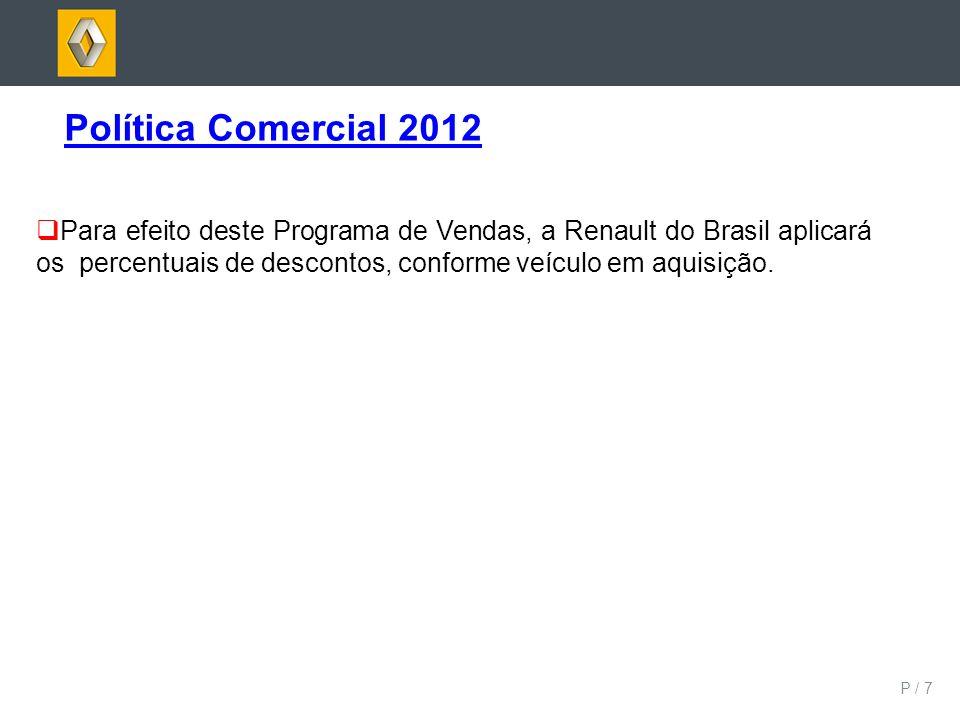 P / 7 Política Comercial 2012 Para efeito deste Programa de Vendas, a Renault do Brasil aplicará os percentuais de descontos, conforme veículo em aqui