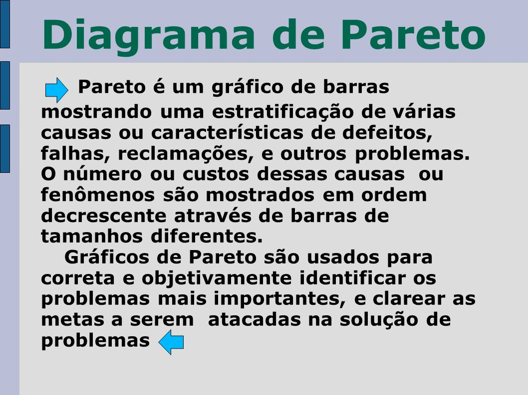 Diagrama de Pareto Pareto é um gráfico de barras mostrando uma estratificação de várias causas ou características de defeitos, falhas, reclamações, e outros problemas.