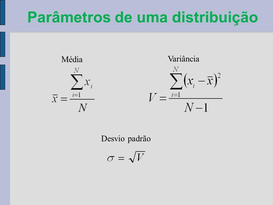 Parâmetros de uma distribuição Média Variância Desvio padrão