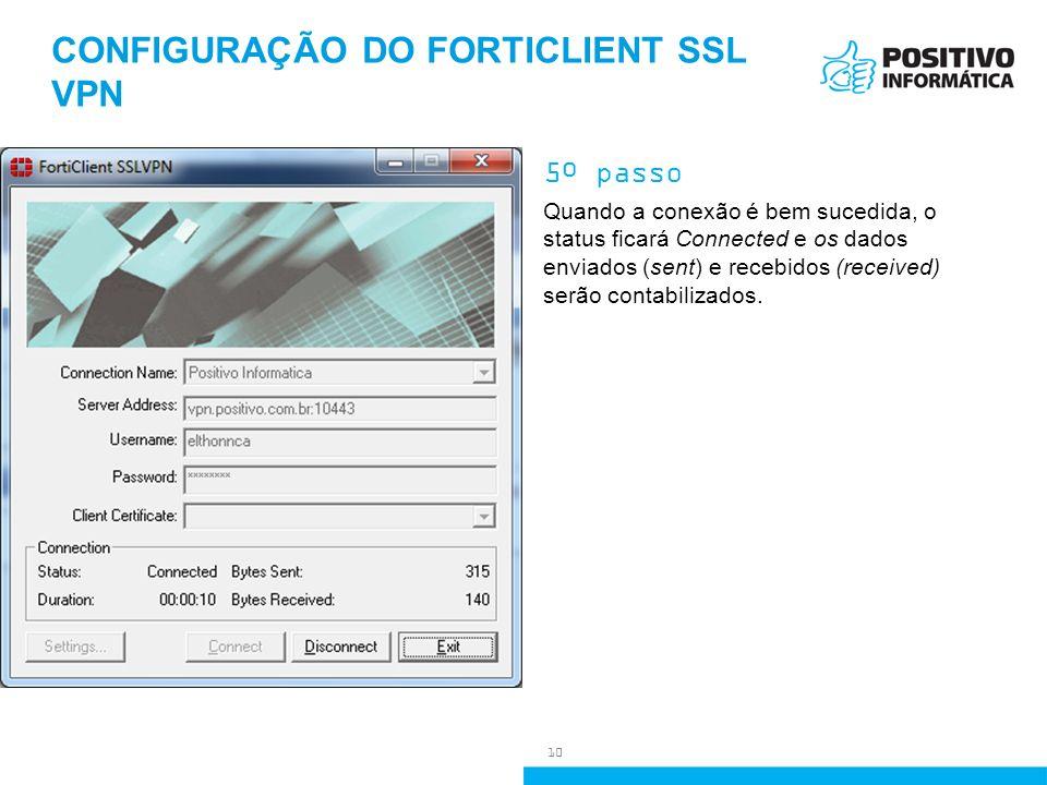 CONFIGURAÇÃO DO FORTICLIENT SSL VPN 5º passo Quando a conexão é bem sucedida, o status ficará Connected e os dados enviados (sent) e recebidos (receiv