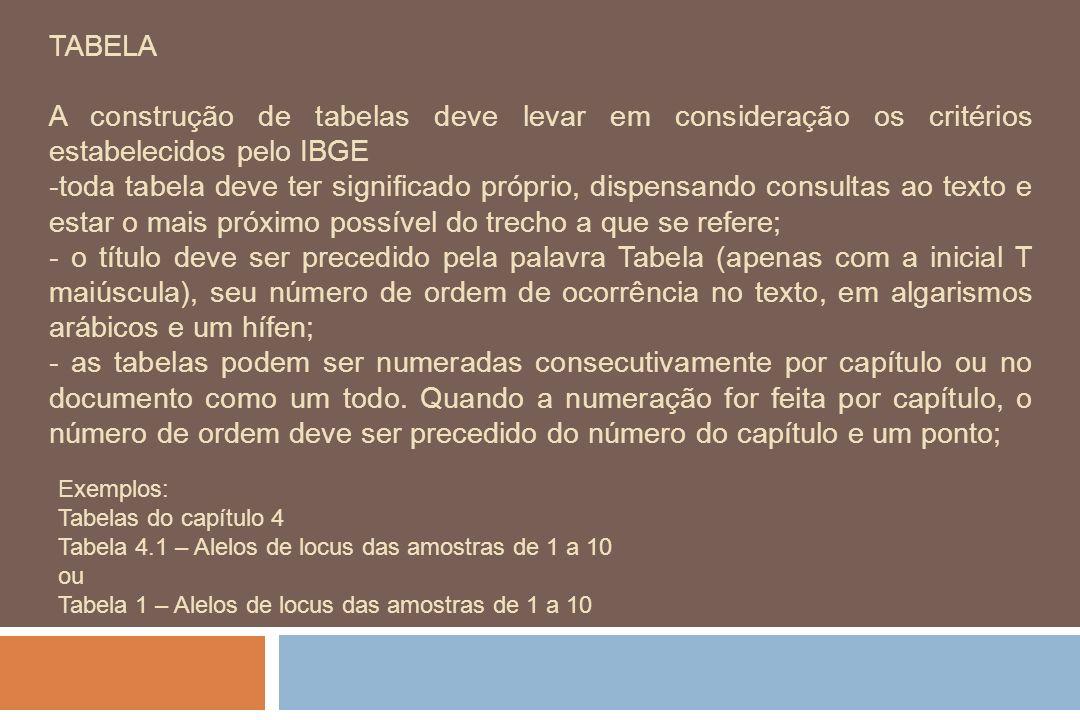 TABELA A construção de tabelas deve levar em consideração os critérios estabelecidos pelo IBGE -toda tabela deve ter significado próprio, dispensando