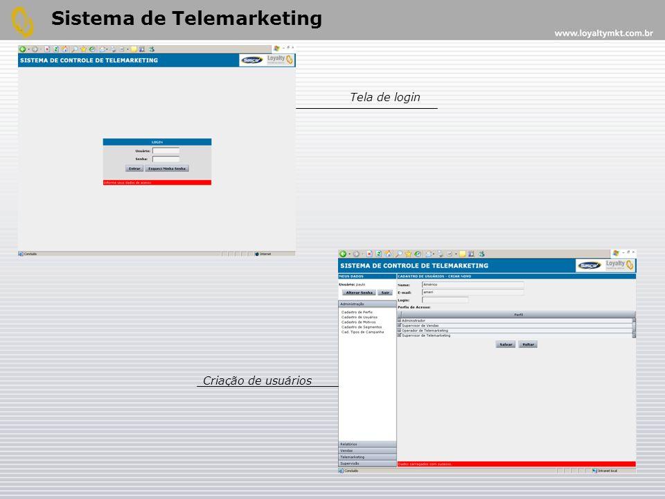 Sistema de Telemarketing Tela de login Criação de usuários