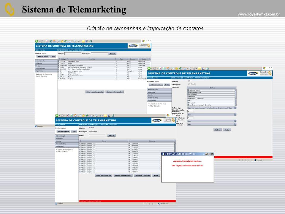 Criação de campanhas e importação de contatos
