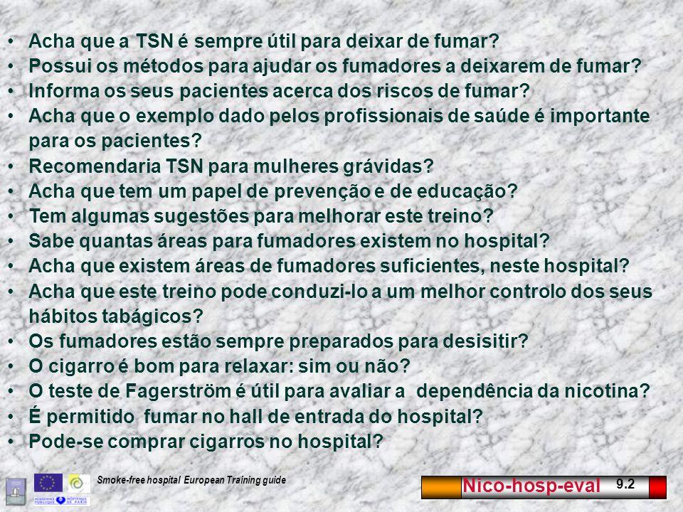 Nico-hosp-eval 9.2 Smoke-free hospital European Training guide Acha que a TSN é sempre útil para deixar de fumar.