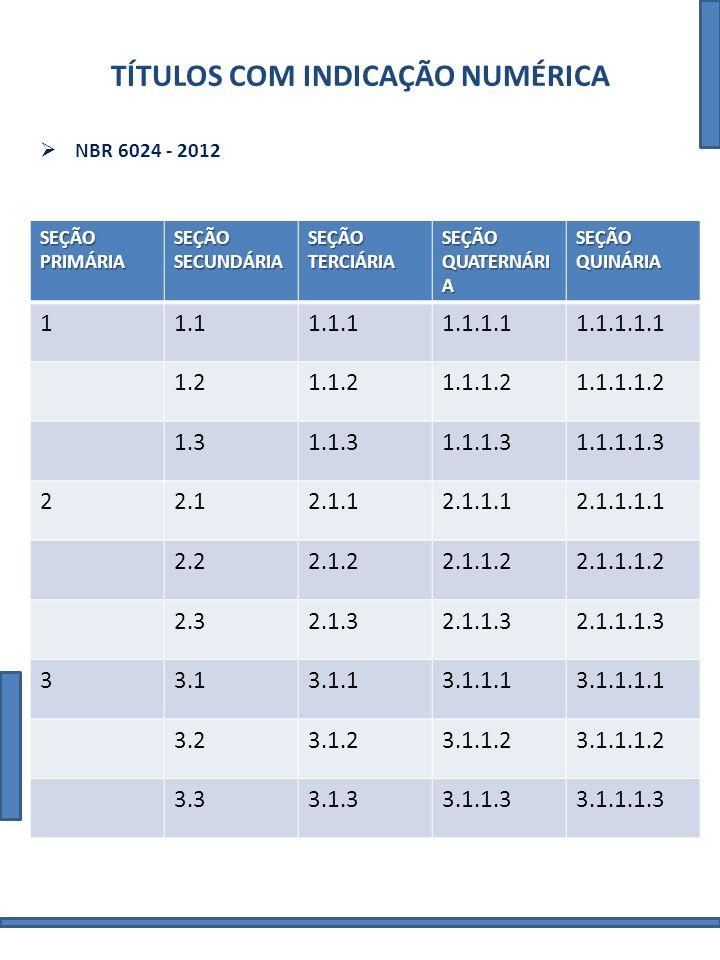 TÍTULOS COM INDICAÇÃO NUMÉRICA NBR 6024 - 2012 SEÇÃO PRIMÁRIA SEÇÃO SECUNDÁRIA SEÇÃO TERCIÁRIA SEÇÃO QUATERNÁRI A SEÇÃO QUINÁRIA 11.11.1.11.1.1.11.1.1