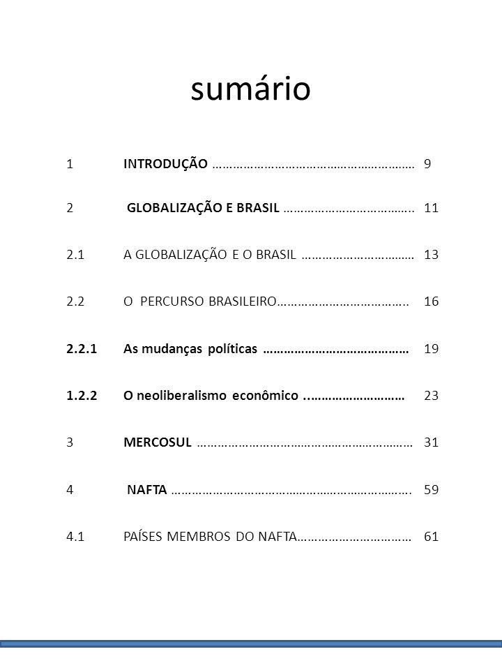 1INTRODUÇÃO ……………………………………………….…. 9 2 GLOBALIZAÇÃO E BRASIL ………………………………..11 2.1A GLOBALIZAÇÃO E O BRASIL ……………………………13 2.2O PERCURSO BRASILEIRO………………