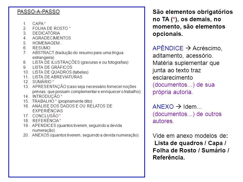 PASSO-A-PASSO 1.CAPA * 2.FOLHA DE ROSTO * 3.DEDICATÓRIA 4.AGRADECIMENTOS 5.HOMENAGEM...