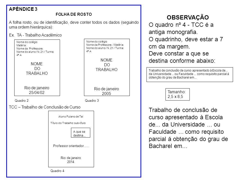 APÊNDICE 3 FOLHA DE ROSTO A folha rosto, ou de identificação, deve conter todos os dados (seguindo uma ordem hierárquica): Ex.