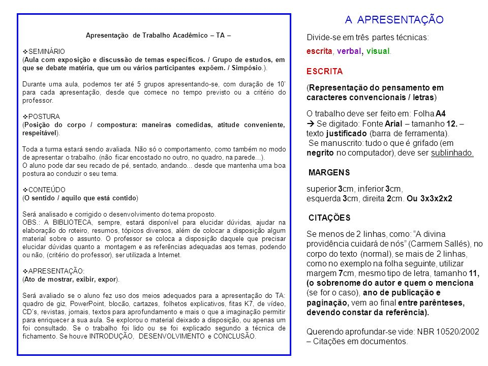 Apresentação de Trabalho Acadêmico – TA – SEMINÁRIO (Aula com exposição e discussão de temas específicos.