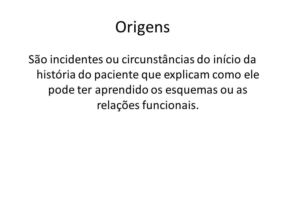 Origens São incidentes ou circunstâncias do início da história do paciente que explicam como ele pode ter aprendido os esquemas ou as relações funcionais.
