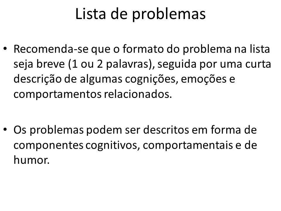 Lista de problemas Recomenda-se que o formato do problema na lista seja breve (1 ou 2 palavras), seguida por uma curta descrição de algumas cognições, emoções e comportamentos relacionados.