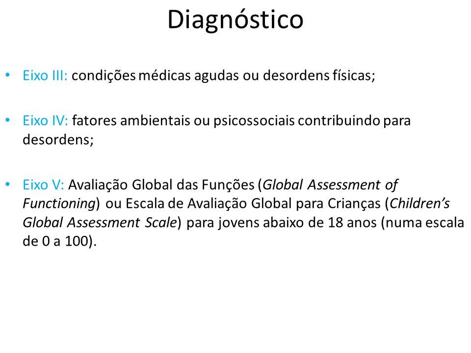 Diagnóstico Eixo III: condições médicas agudas ou desordens físicas; Eixo IV: fatores ambientais ou psicossociais contribuindo para desordens; Eixo V: Avaliação Global das Funções (Global Assessment of Functioning) ou Escala de Avaliação Global para Crianças (Childrens Global Assessment Scale) para jovens abaixo de 18 anos (numa escala de 0 a 100).