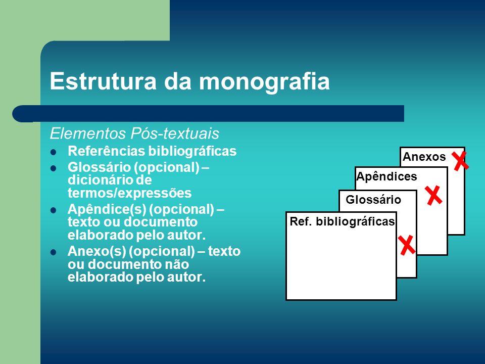 Estrutura da monografia Elementos Pós-textuais Referências bibliográficas Glossário (opcional) – dicionário de termos/expressões Apêndice(s) (opcional