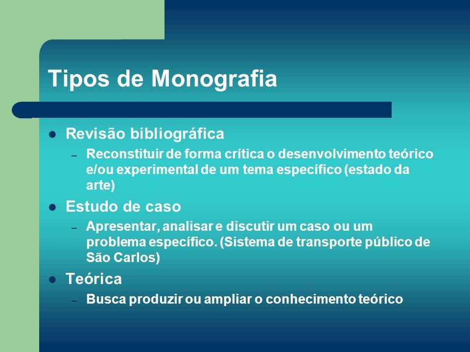 Tipos de Monografia Revisão bibliográfica – Reconstituir de forma crítica o desenvolvimento teórico e/ou experimental de um tema específico (estado da